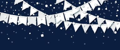 Party flags. Outstanding celebration card. White paper holiday decorations and confetti. Party flags vector illustration Stock Photos