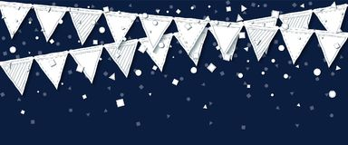 Party flags. Rare celebration card. White paper holiday decorations and confetti. Party flags vector illustration Stock Photography