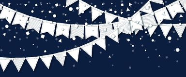 Party flags. Perfect celebration card. White paper holiday decorations and confetti. Party flags vector illustration Royalty Free Stock Photography