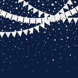 Party flags. Pleasant celebration card. White paper holiday decorations and confetti. Party flags vector illustration Royalty Free Stock Image