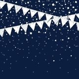 Party flags. Radiant celebration card. White paper holiday decorations and confetti. Party flags vector illustration Stock Image