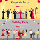 Party Flat Banners Set Royalty Free Stock Photo