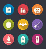 Party Flat Icons with Halloween Stock Photography