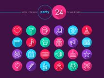 Party flat icons set Royalty Free Stock Image
