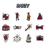 Party flat icons set. With birthday fireworks flat icons  vector illustration Royalty Free Stock Photography