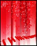 Party flier with keyboard. Keyboard on red background with stars musical notes Royalty Free Stock Photo