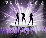 Party flyer. Abstract design for party flyer or poster with shapes of singing girls Royalty Free Stock Images