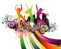 Party Flyer background Illustration Disco. Tango Dance blue pink red orange points green lines speaker stock illustration