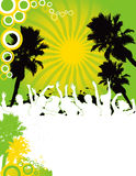 Party Flyer background Illustration  Disco. Dance green yellow grass Tree Palm Stock Image