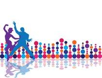 Party Flyer background Illustration Disco. Tango Dance blue pink red orange points stock illustration