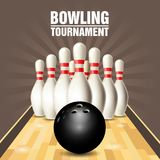 Party flyer with bowling court, skittles and ball Royalty Free Stock Images