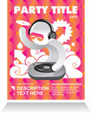 Party flyer card with dj Stock Images