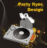 Party flyer design. Dj mixing on decorative background,party flyer design Royalty Free Stock Photos