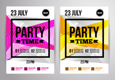 Party flyer design. Disco template. Vector illustration. For nig Stock Images