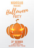 Party flyer design for halloween. Paper art style vector illustration. Festive card with pumpkin smile. Invitation to nightclub Stock Images