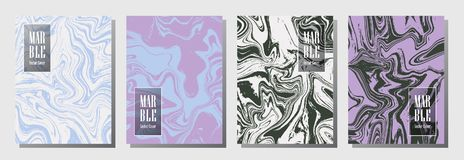 Party flyer or journal cover marble background patterns vector set. Stock Photography