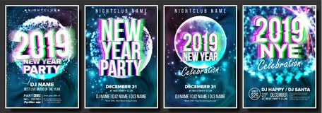 2019 Party Flyer Poster Set Vector. Night Club Celebration. Musical Concert Banner. Happy New Year. Celebration Template. Winter Background. Disco Light stock illustration