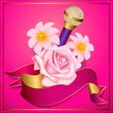 Party flyer or poster template with microphone and flowers Royalty Free Stock Image