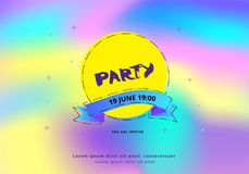 Party flyer. Vector illustration. Horizontal Party flyer. Holography elements. Template for holiday design. Vector illustration Royalty Free Stock Photos