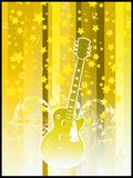 Party flyer - yellow guitar. Party flyer- Guitar on green background with stars an swirls Royalty Free Stock Photography