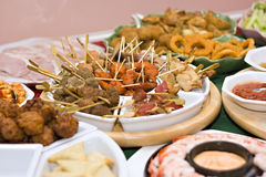 Party food. A table spread with delicious finger foods Royalty Free Stock Images