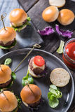 Party food, beef burgers Royalty Free Stock Photo