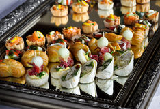 Party food platter. Luxurious platter of catering food assortment Royalty Free Stock Photo