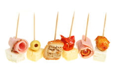 Party food selection. Selection of party food isolated on white stock photos