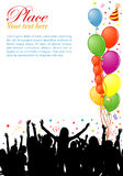 Party frame. With balloon and dancing silhouettes, element for design, vector illustration Royalty Free Stock Photos