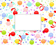 Party frame with balloons and confetti. Party frame with colorful balloons and confetti. White copy space in the middle of the illustration for your text or Stock Image