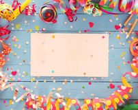 Party frame with central blank card Stock Image