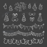 Party freehand  doodles. Hand drawn party doodles - Outline . Chalkboard background Royalty Free Stock Photos