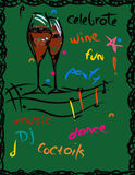 Party And Fun Background. Wine glasses, music and fun. parties background, hand drawn illustration on green Royalty Free Stock Image
