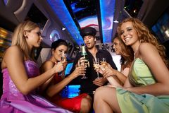 Party fun in limousine Stock Photography