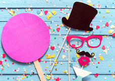 Party fun with photo booth accessories Stock Photo