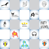 Party funny creatures vector logos set Stock Images