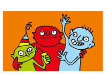 Party funny people. Collection of cartoon  graphics with party motives Stock Photography