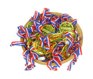 Party Game Winner Tags In Basket On White Stock Image