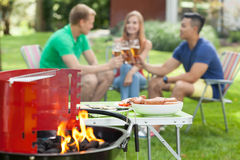 Party in the garden. With a grill Stock Images