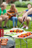 Party in a garden. During summer, vertical Stock Images