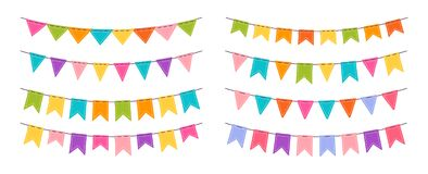 Party garland bunting birthday flat set vector