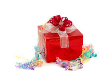 Party gift. A gift box with party's ribbon Royalty Free Stock Images