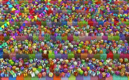 Party Gifts Selection Shelves. Gift large group cube shelves party 3d illustration colorful horizontal background Royalty Free Stock Images