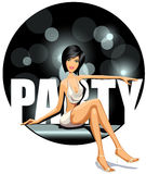 Party girl. Vector illustration of party girl
