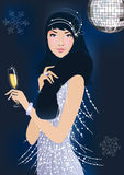 Party Girl. Beautiful girl at New Year party.Illustration created with gradient mesh Royalty Free Stock Photography
