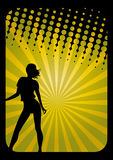 Party Girl. An illustration of a party girl silhouette on a disco background Royalty Free Stock Photography