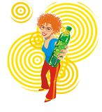 Party girl. The colorful vector girl over the yellow background Royalty Free Stock Images