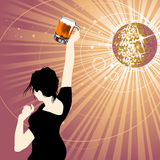 Party girl. And discoball ıllustration vector Stock Images