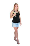 Party Girl. Pretty young blonde woman with margarita, isolated on white Stock Photos