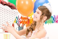 Party girl with balloons and gift box Stock Photo